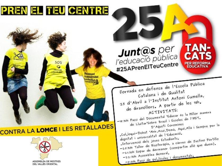 25 Abril Tancada per una Educació Pública Digna!!